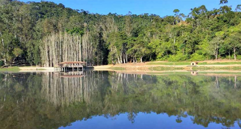O deque do lago foi totalmente restaurado.