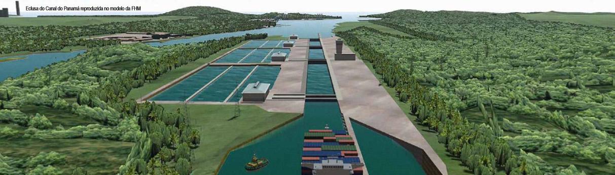 Eclusa do Canal do Panamá reproduzida no modelo da FHM